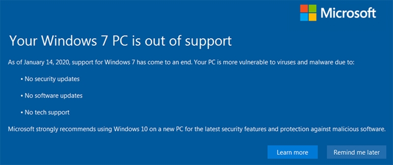 win 7 PC is out of support